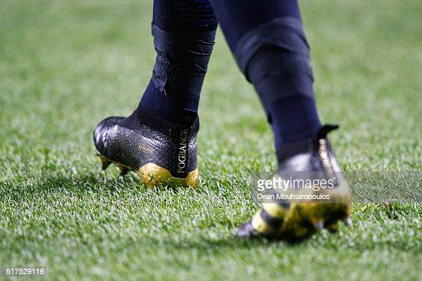 A close up view of the boots worn by Paul Pogba of France during the International Friendly match between Netherlands and France at Amsterdam Arena...