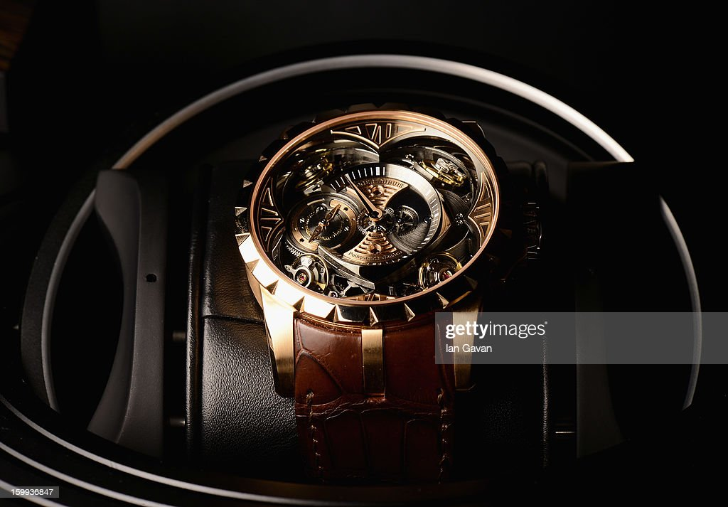 A close up view of the Excalibur Quatuor watch at the Roger Dubuis booth during the 23rd Salon International de la Haute Horlogerie at the Geneva Palexpo on January 23, 2013 in Geneva, Switzerland.