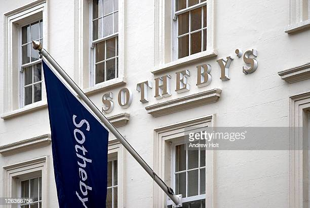 A close up view of the front facade of Sotheby's Auction House on New Bond Street, London.