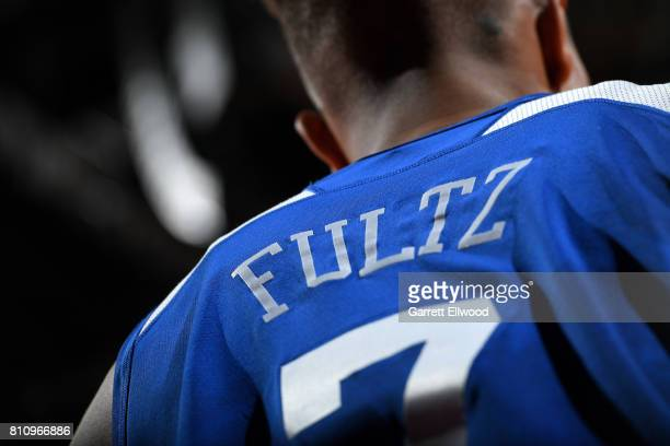 A close up view of the jersey of Markelle Fultz of the Philadelphia 76ers during the game against the Golden State Warriors during the 2017 Las Vegas...