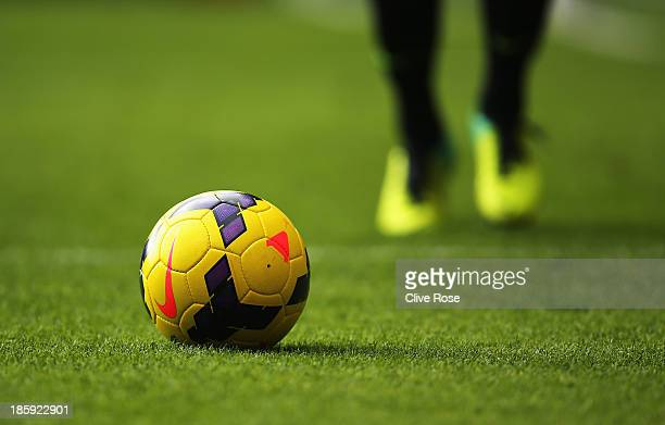 A close up view of the match ball during the Barclays Premier League match between Crystal Palace and Arsenal at Selhurst Park on October 26 2013 in...
