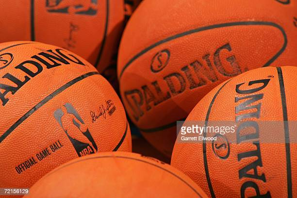 Close up view of the new Spalding microfiber composite 200607 Official NBA game balls during a game between the Denver Nuggets and Efes Pilsen at the...
