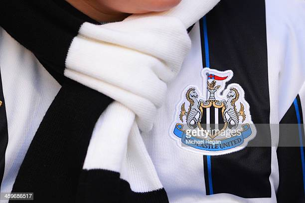 A close up view of the Newcastle United crest prior to the Barclays Premier League match between Newcastle United and Arsenal at St James' Park on...