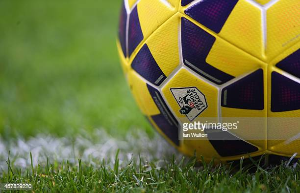 A close up view of the Nike Ordem HiVis ball prior to the Barclays Premier League match between West Ham United and Manchester City at Boleyn Ground...