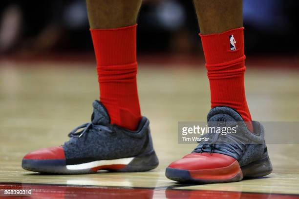 A close up view of the shoes worn by James Harden of the Houston Rockets against the Philadelphia 76ers in the first half at Toyota Center on October...