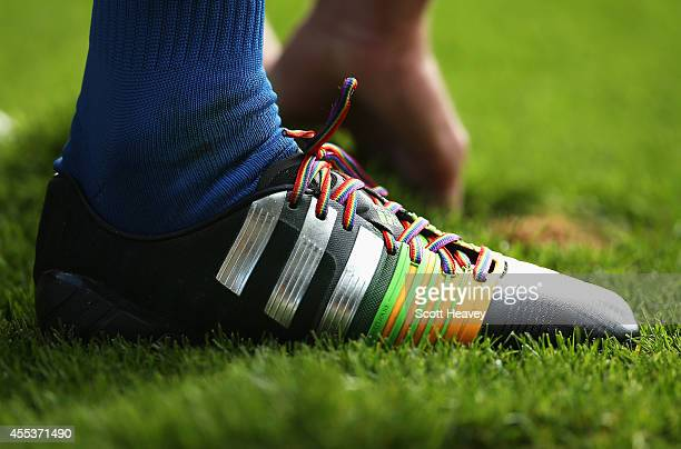 A close up view showing rainbow laces during the Barclays Premier League match between Crystal Palace and Burnley at Selhurst Park on September 13...