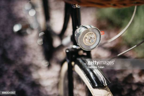 Close up vintage bicycle with a basket