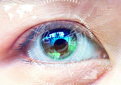 Close up women eye scanning technology in the futuristic, operation, eye cataract.