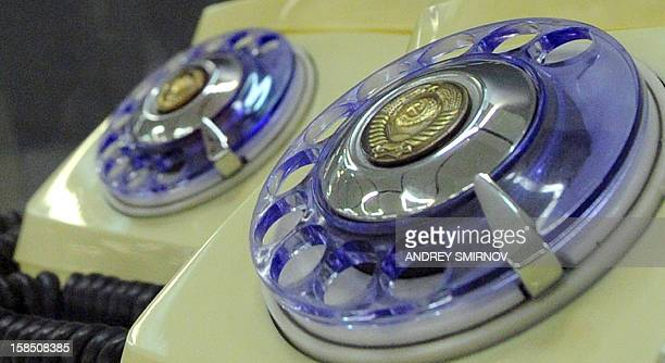 A close view of a Sovietera rotary dial telephones displayed at the exhibition 'Soviet Design 19501980' in Moscow on December 5 2012 Toys kitchen...