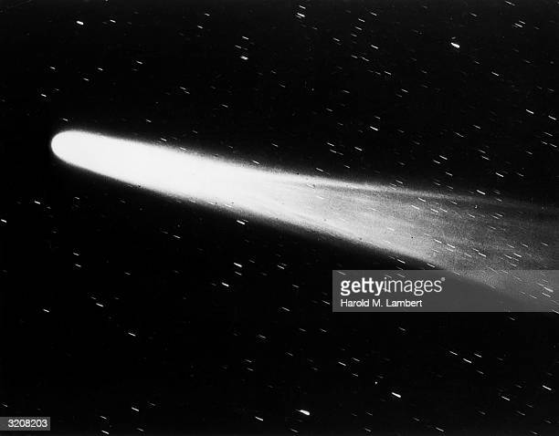 Close view of Halley's comet streaking past stars in the night sky