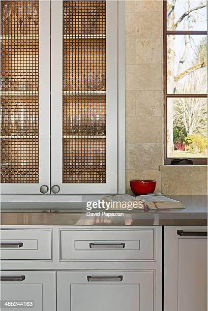 Close view of kitchen cabinets