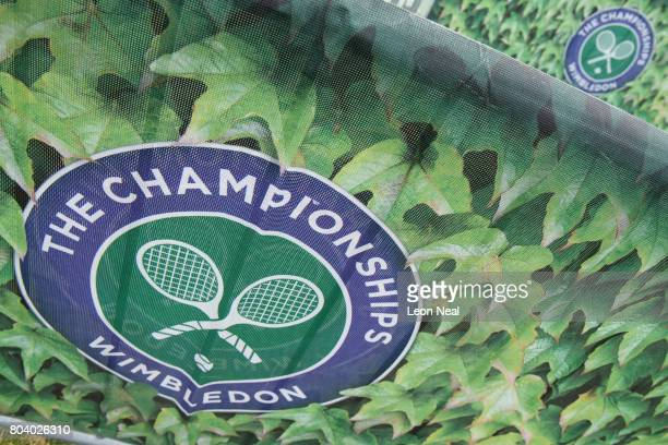 A close view of the branded security barriers in the public queueing zone outside the All England Tennis Club at Wimbledon on June 30 2017 in London...