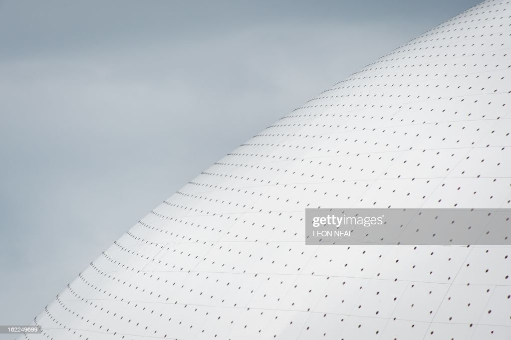 A close view of the dome of the Bolshoi Ice Palace ice hockey venue in the Olympic Park in Adler, Russia on February 21, 2013. With a year to go until the Sochi 2014 Winter Games, construction work continues as tests events and World Championship competitions are underway.