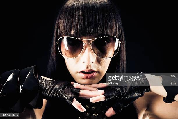 Close Woman with Sunglasses Portrait
