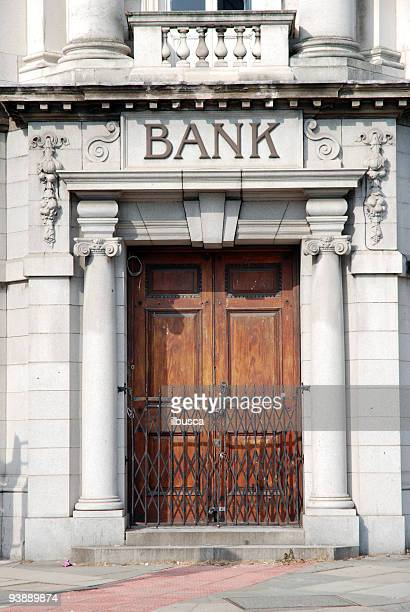 Closed bank door