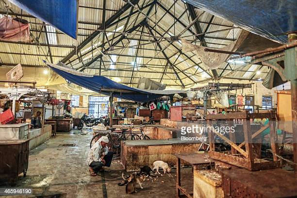 Closed beef stalls stand inside Crawford Market in Mumbai India on Tuesday March 10 2015 The government of the state of Maharashtra last week banned...