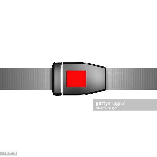 Closed Black Safety Belt on white background
