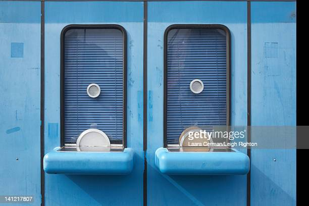 Closed blue ticket booths.