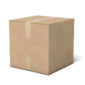 Closed cardboard box isolated on a white background. 3d render