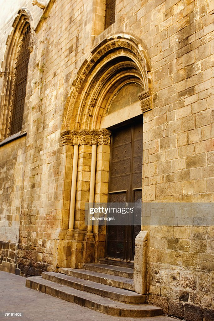 Closed door of a house, Barcelona, Spain : Stock Photo