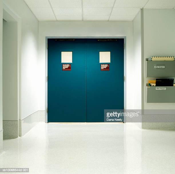 Closed door to authorized area in hospital