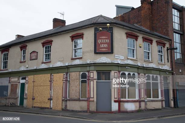 Closed down boarded up Queens Arms pub in Digbeth Birmingham United Kingdom Digbeth is an area of Central Birmingham England Following the...