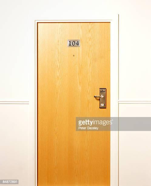 Closed hotel door.