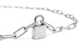 Closed padlock with chains on white.