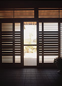 Closed patio doors