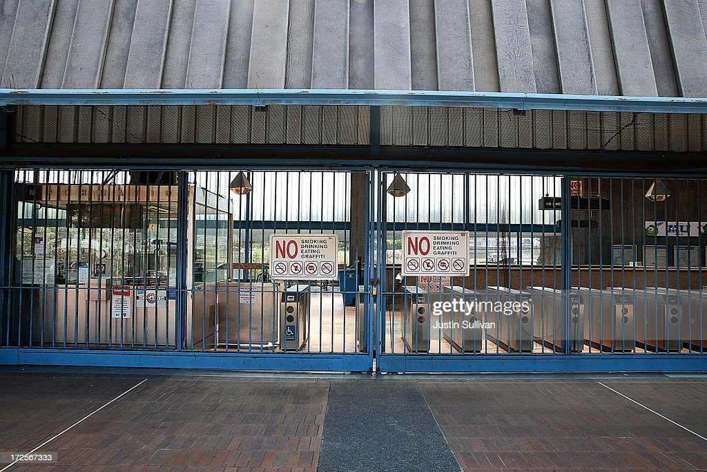 Closed pay gates are seen at the Bay Area Rapid Transit (BART) Glen Park station on July 3, 2013 in San Francisco, California. For a third day, hundreds of thousands of San Francisco Bay Area commuters are scrambling to find ways to work as two of San Francisco Bay Area Rapid Transit's (BART) largest unions remain on strike while they continue contract negotiations with management. Train operators, mechanics, station agents and maintenance workers are seeking a five percent wage increase and are fighting management who want to have workers to begin contributing to their pensions, pay more for health insurance and reduce overtime expenses.