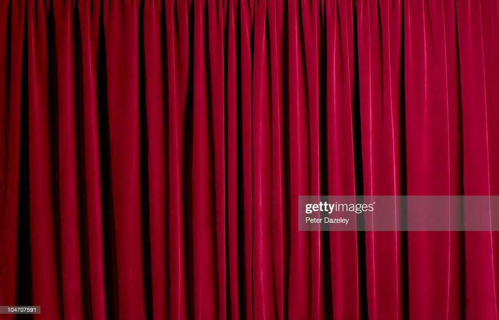 Closed red theatre curtains : Stock Photo