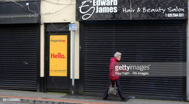 Closed shops in Ballymena town centre Co Antrim as a fifth of shops in some Northern Ireland town centres are lying empty following the recession it...