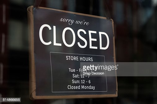 Closed Sign On Door Stock Photos and Pictures | Getty Images