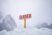 Closed sign in the snow