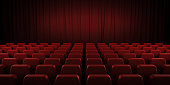 Closed theater red curtains and seats. 3d render image.