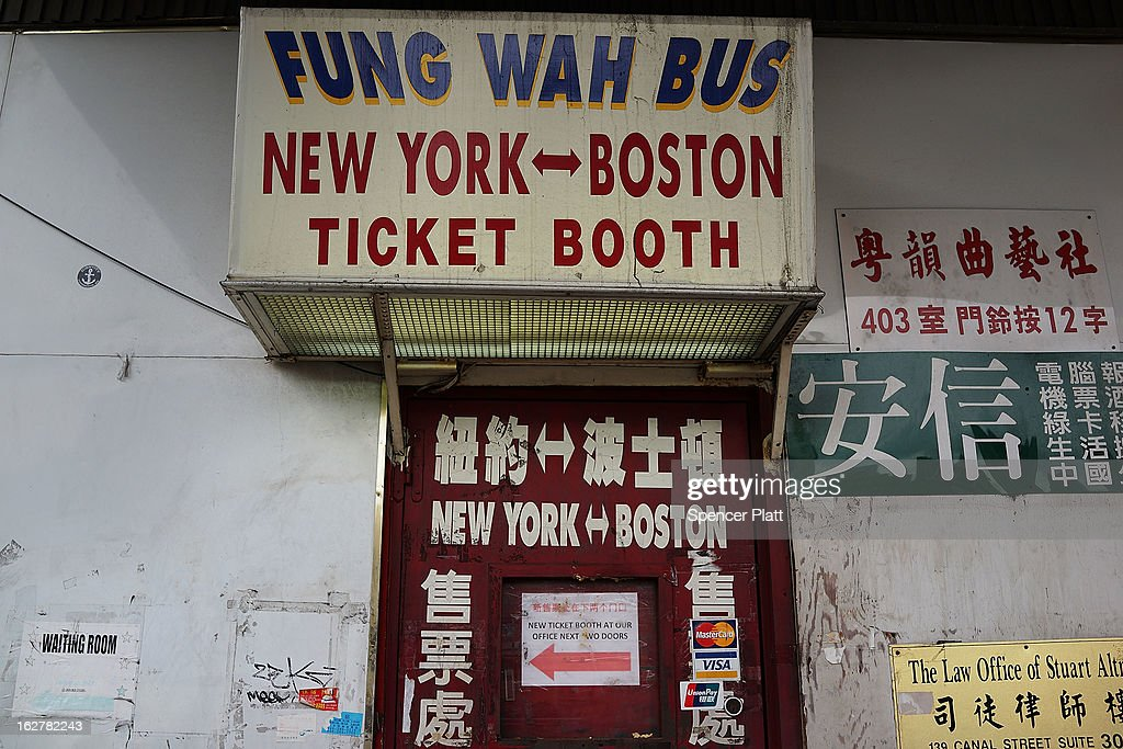 A closed ticket booth for the Fung Wah Bus Transportation company is viewed for buses to Boston on February 26, 2013 in New York City. Government officials in Boston and Washington have ordered the troubled bus company off the road after Fung Wah buses had failed inspection. On Tuesday afternoon, the federal Transportation Department extended the ban order to all of Fung WahÕs buses.