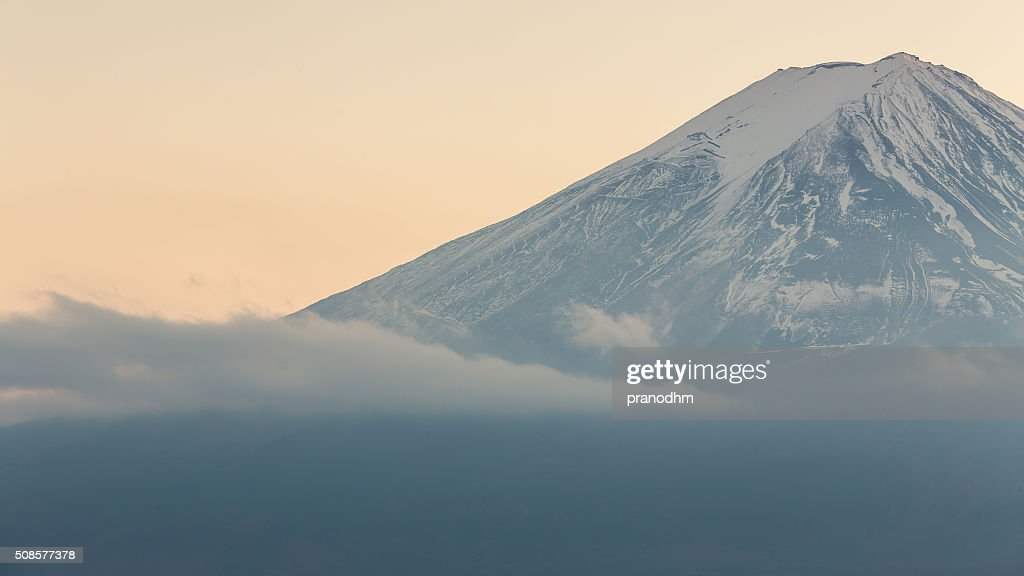 Closed up Fuji Mountain with snow cover in winter : Stock Photo