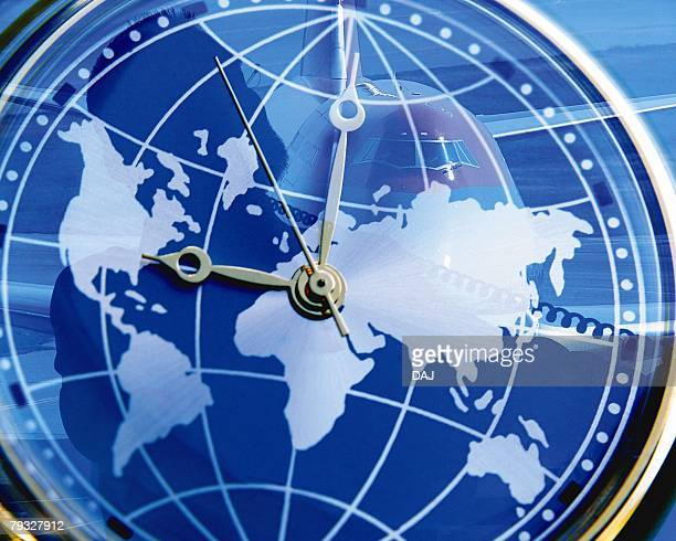 Closed Up Image of a Clock, Formed as a Globe, Front View, Toned Image, CG