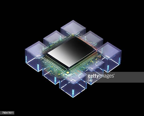 Closed Up Image of a CPU, Surrounded By Several Squares, High Angle View, CG