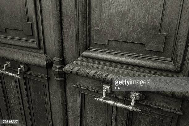 Closed Up Image of a Huge Wooden Door, High Angle View, Paris, France