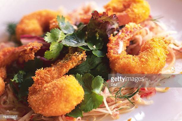 Closed Up Image of a Papaya Salad With Fried Shrimps, High Angle View, Differential Focus