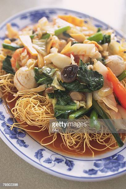 Closed Up Image of a Vietnamese Noodle Dish With Vegetables, High Angle View, Differential Focus