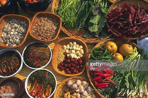 Closed Up Image of Many Baskets Filled With Ingredients for Kimchi, High Angle View