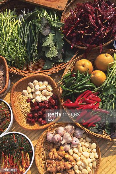 Closed Up Image of the Ingredients of Kimchi, in a Wooden Basket, High Angle View