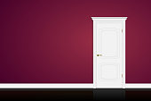 Closed white door on purple wall background. Graphic illustration