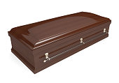 3D render of a coffin with a smooth lacquered wood finish over a plain white background.
