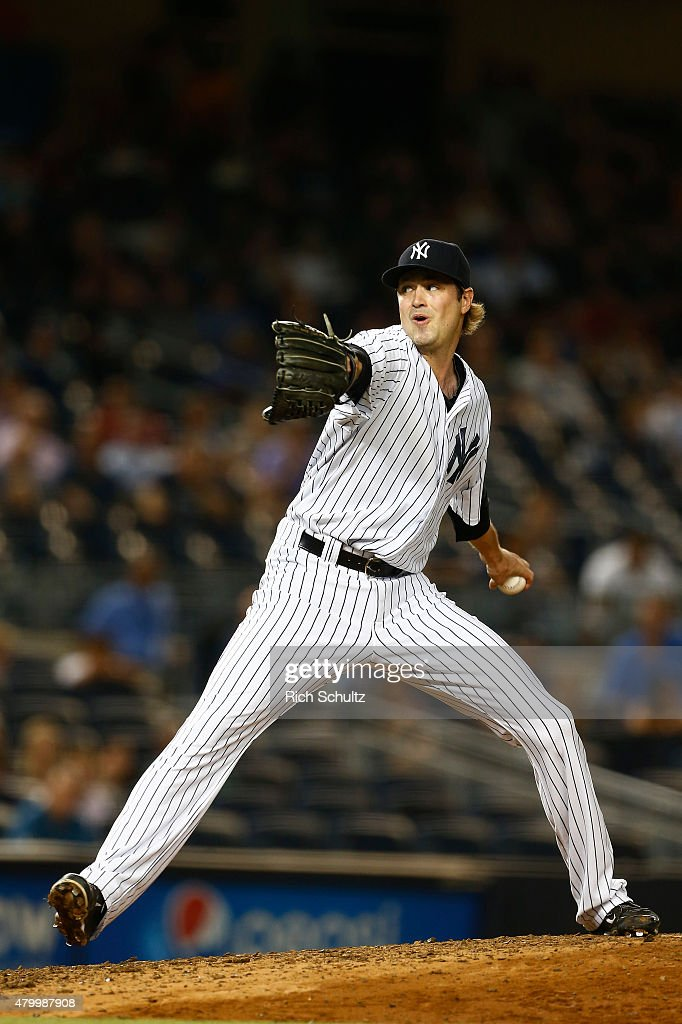 Closer <a gi-track='captionPersonalityLinkClicked' href=/galleries/search?phrase=Andrew+Miller+-+Baseball+Player&family=editorial&specificpeople=4496823 ng-click='$event.stopPropagation()'>Andrew Miller</a> #48 of the New York Yankees delivers a pitch against the Oakland Athletics during the ninth inning a MLB baseball game at Yankee Stadium on July 8, 2015 in the Bronx borough of New York City. The Yankees defeated the A's 5-4.