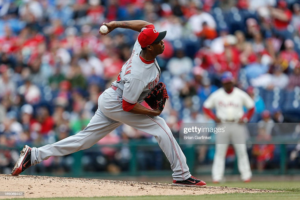 Closer <a gi-track='captionPersonalityLinkClicked' href=/galleries/search?phrase=Aroldis+Chapman&family=editorial&specificpeople=5753195 ng-click='$event.stopPropagation()'>Aroldis Chapman</a> #54 of the Cincinnati Reds throws a pitch in the bottom of the ninth inning of the game against the Philadelphia Phillies at Citizens Bank Park on May 19, 2013 in Philadelphia, Pennsylvania. The Phillies won 3-2.