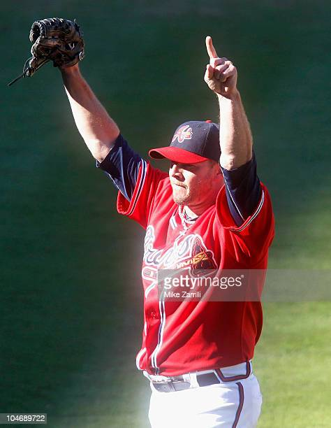 Closer Billy Wagner of the Atlanta Braves celebrates after the last out in the the game against the Philadelphia Phillies at Turner Field on October...