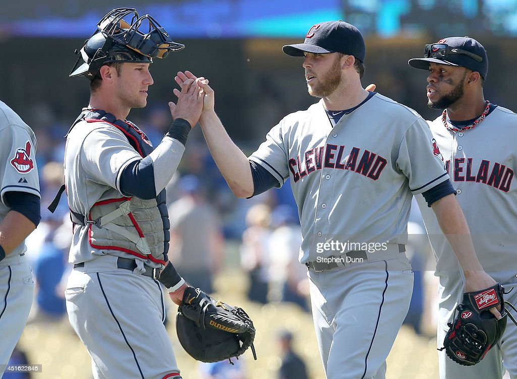 Closer Cody Allen #37 and catcher Yan Gomes #10 of the Cleveland Indians celebrate after the game against the Los Angeles Dodgers at Dodger Stadium on July 2, 2014 in Los Angeles, California. Allen picked up the save as the Indians won 5-4.
